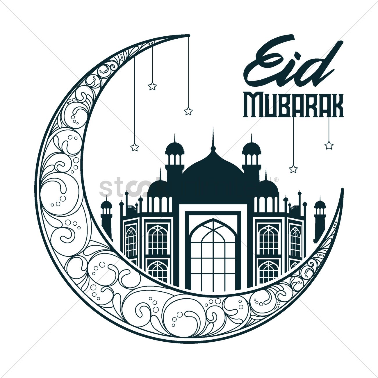 Eid mubarak greetings Vector Image.