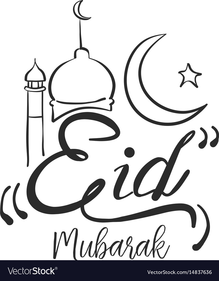 Hand draw eid mubarak style.
