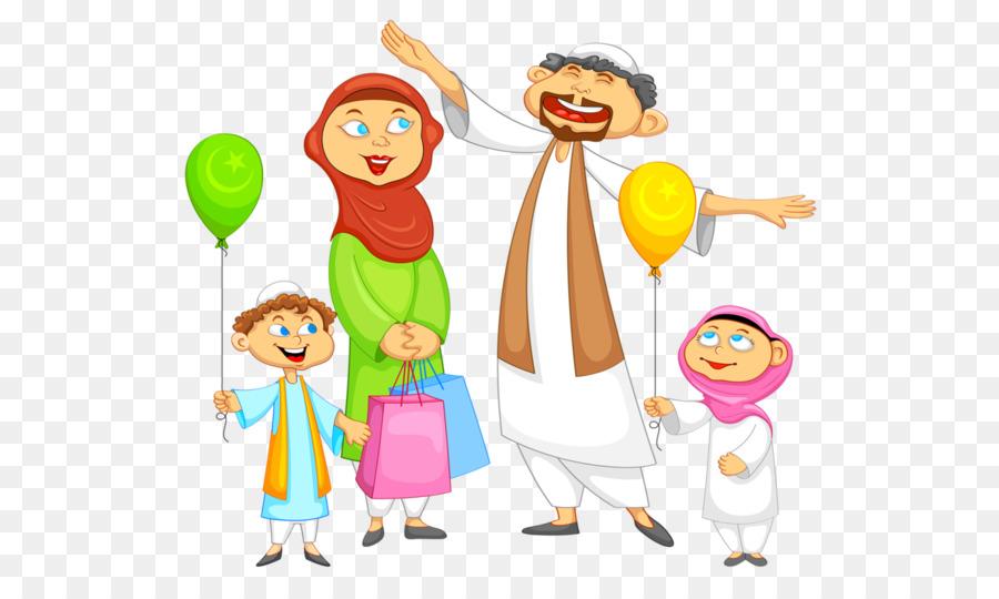 Cartoon Eid Mubarak clipart.