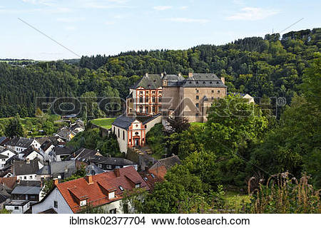 "Stock Photo of ""Malberg Castle above the village of Malberg."