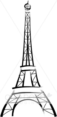 Black and White Eiffel Tower Clipart.