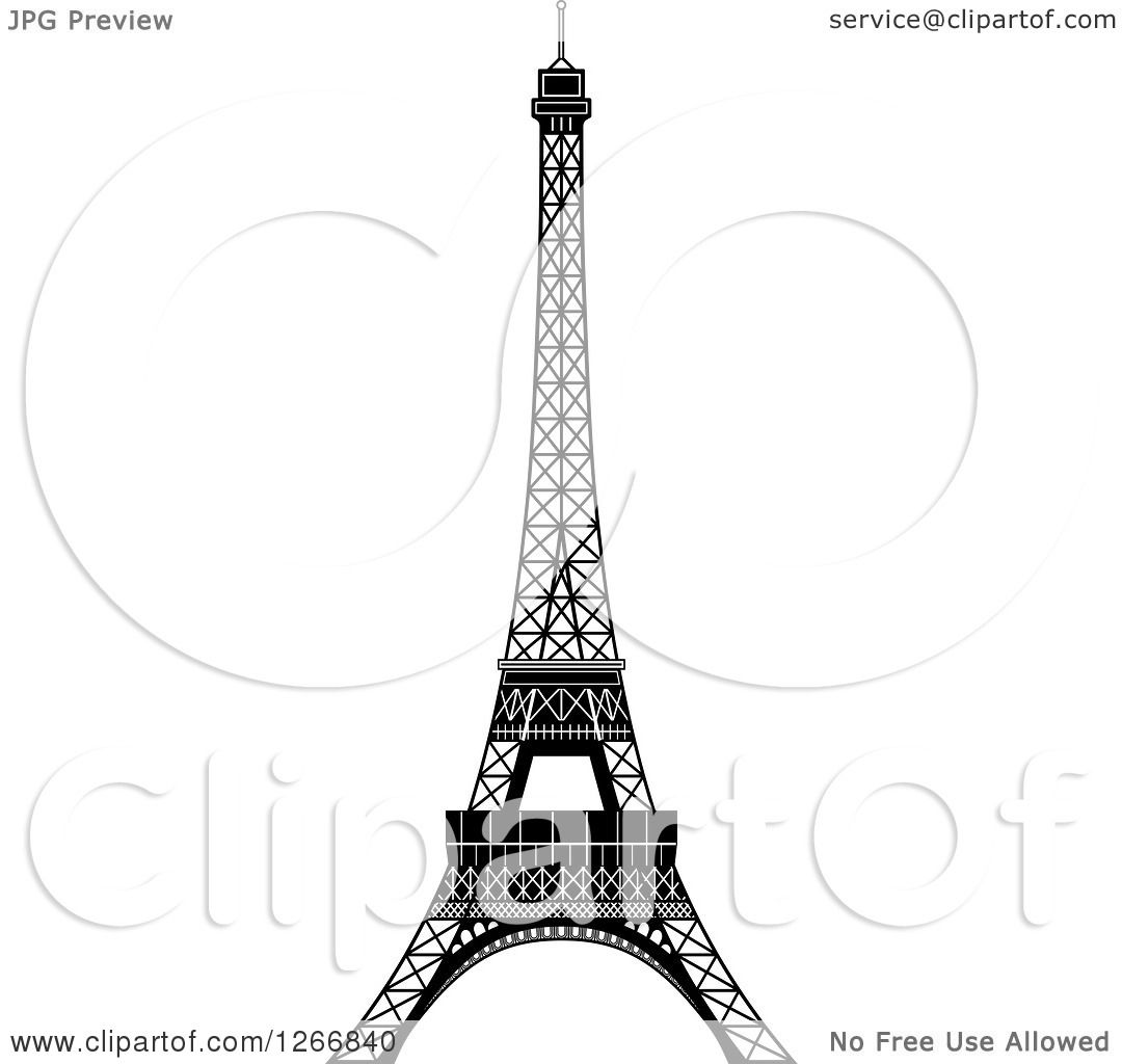 Clipart of a Black and White Eiffel Tower.