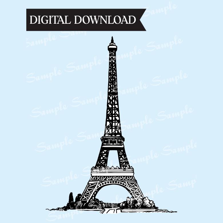 Eiffel Tower Black & White Clipart.