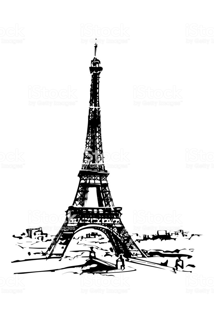 Eiffel Tower In Paris Vector Clipart Stock Illustration.