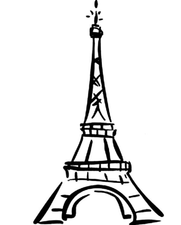 Effiel tower,cute, cartoon,easy.