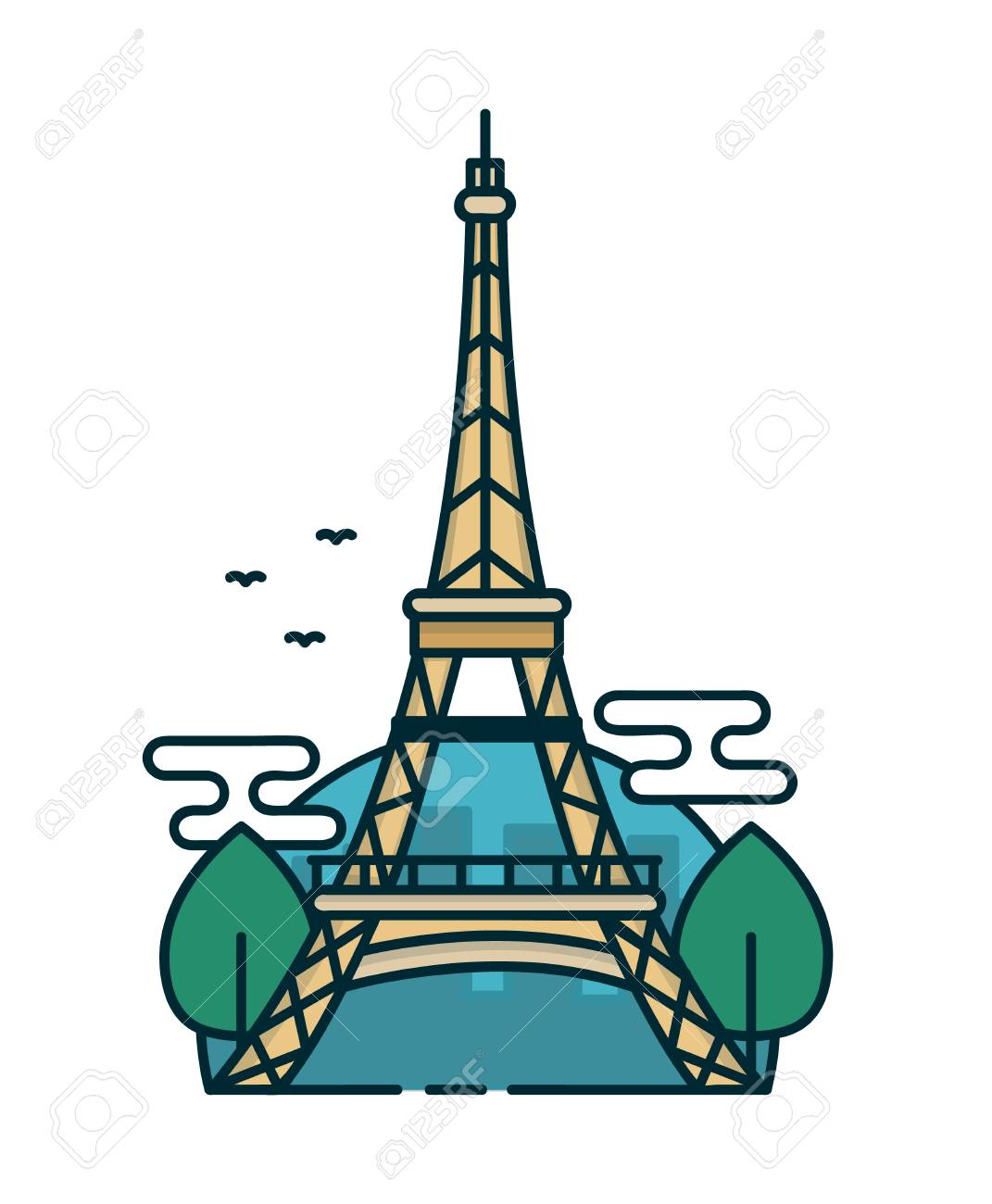 Eiffel Tower in Paris, trees. Vector modern line outline flat...