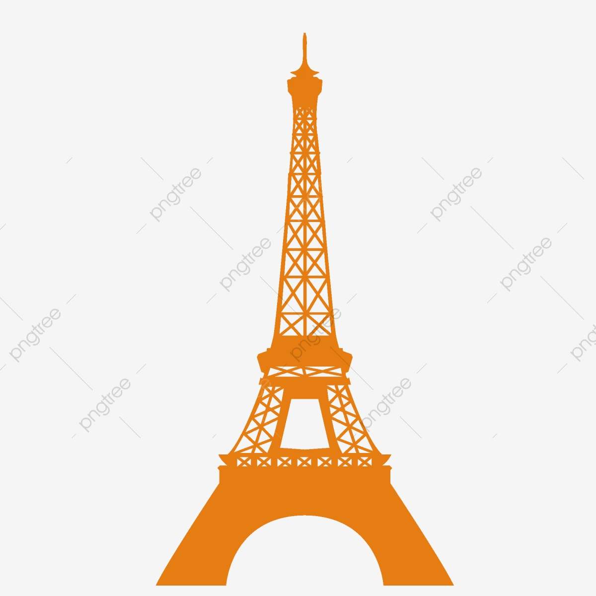 Cartoon Yellow Eiffel Tower Paper Cut Element, Chinese Style.