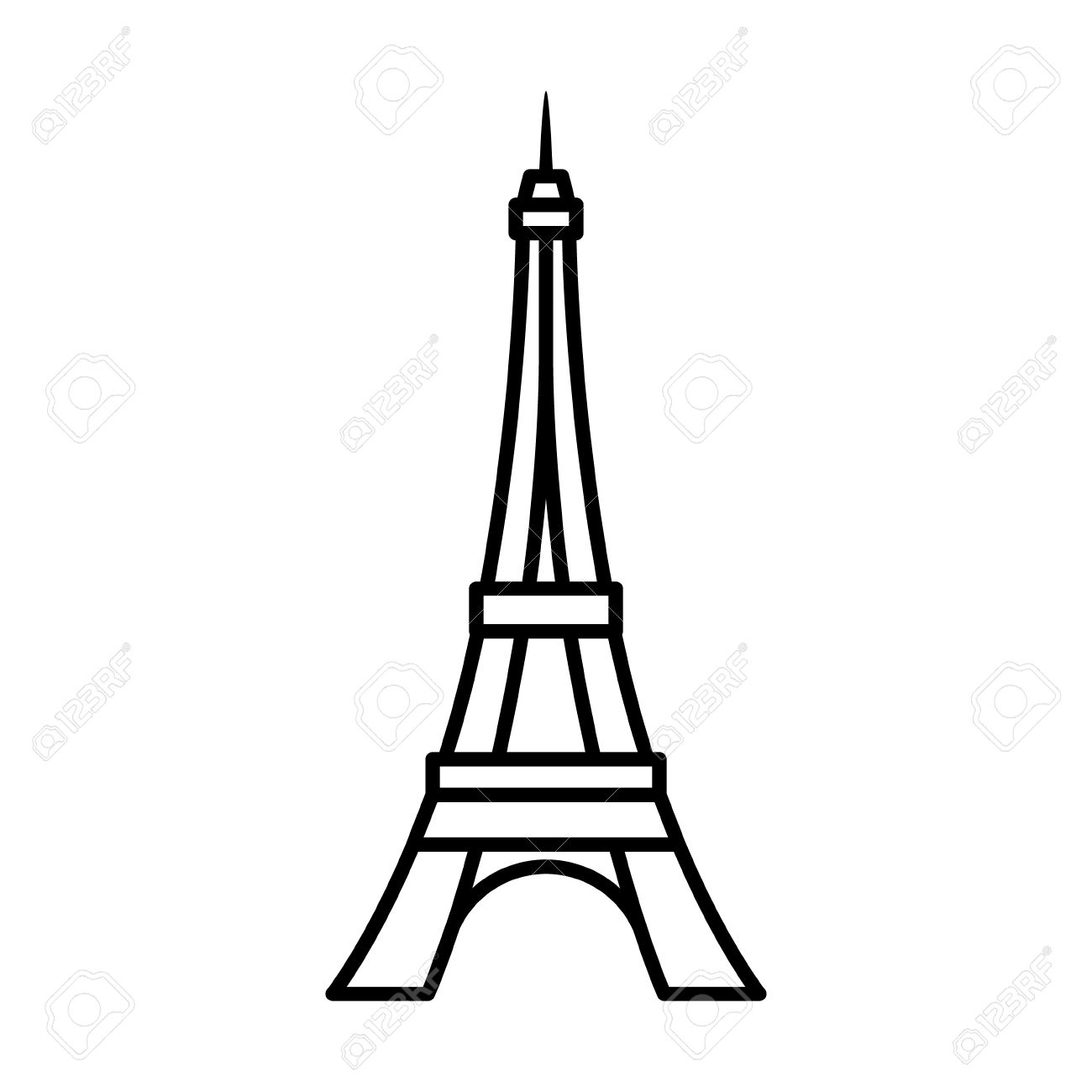 Eiffel Tower Tour Eiffel in Paris line art icon for apps and...