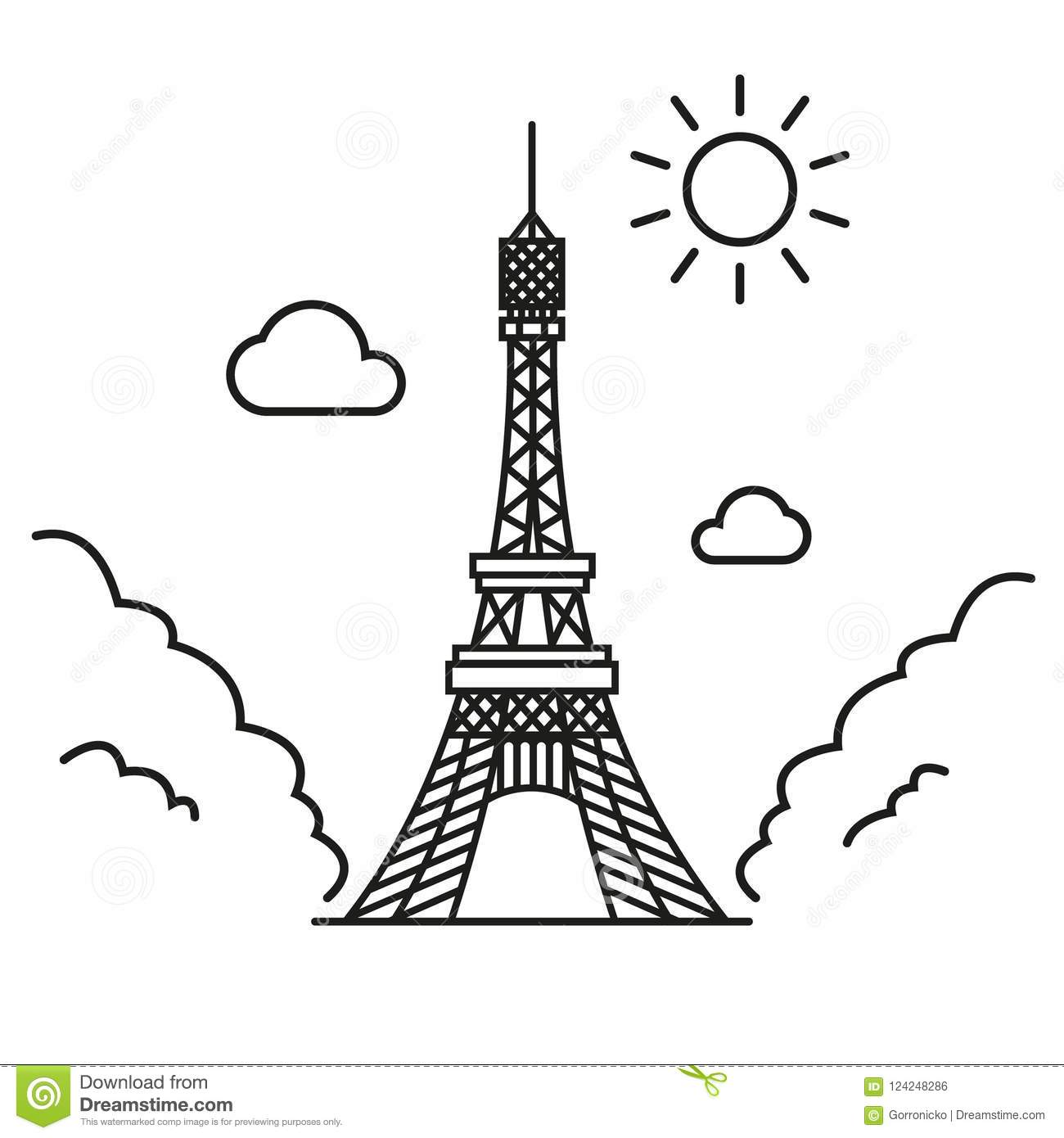 Simple Line Art Vector Illustration Of The Eiffel Tower Stock.