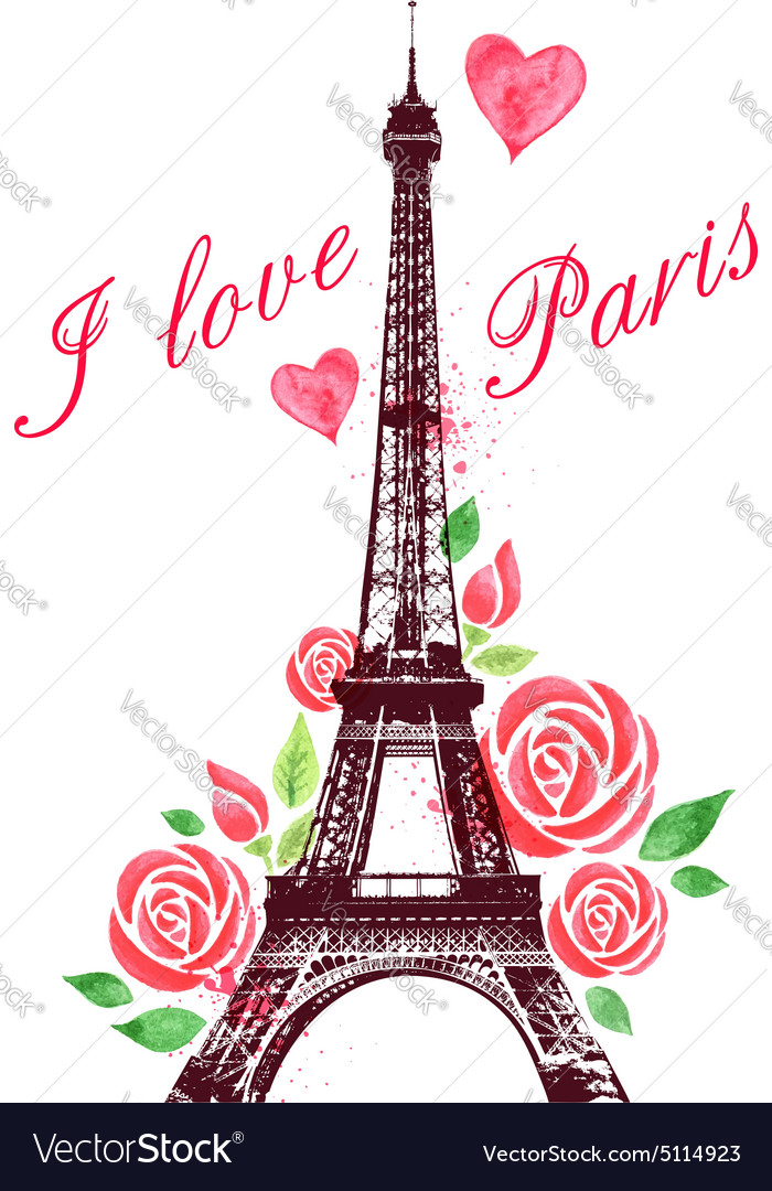 Red watercolor roses and Eiffel Tower.