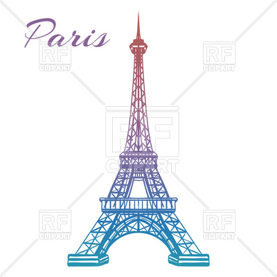 Colorful hand drawn Eiffel tower isolated on white backgound Vector Image.
