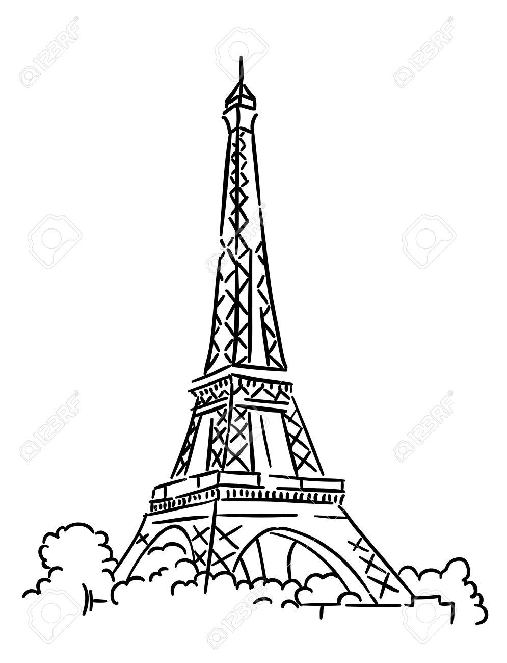 Eiffel tower in Paris, France. Sketch vector illustration.