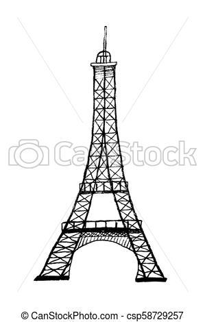 Vector hand drawn Eiffel tower.