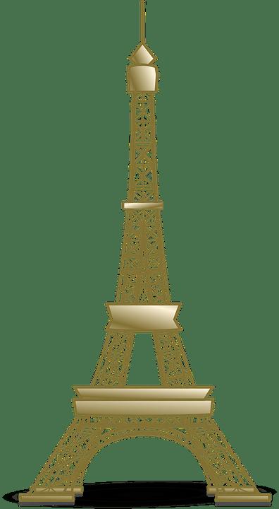 Golden Eiffel Tower transparent PNG.