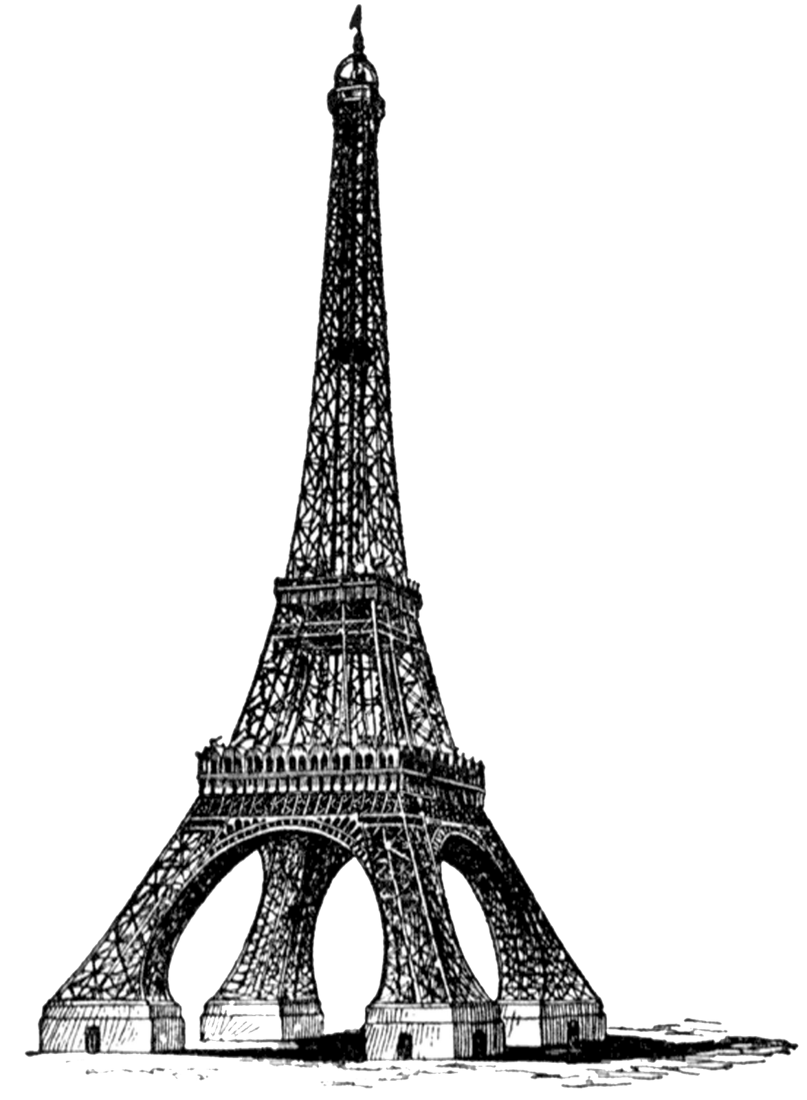 Eiffel Tower Bw Full Vintage transparent PNG.