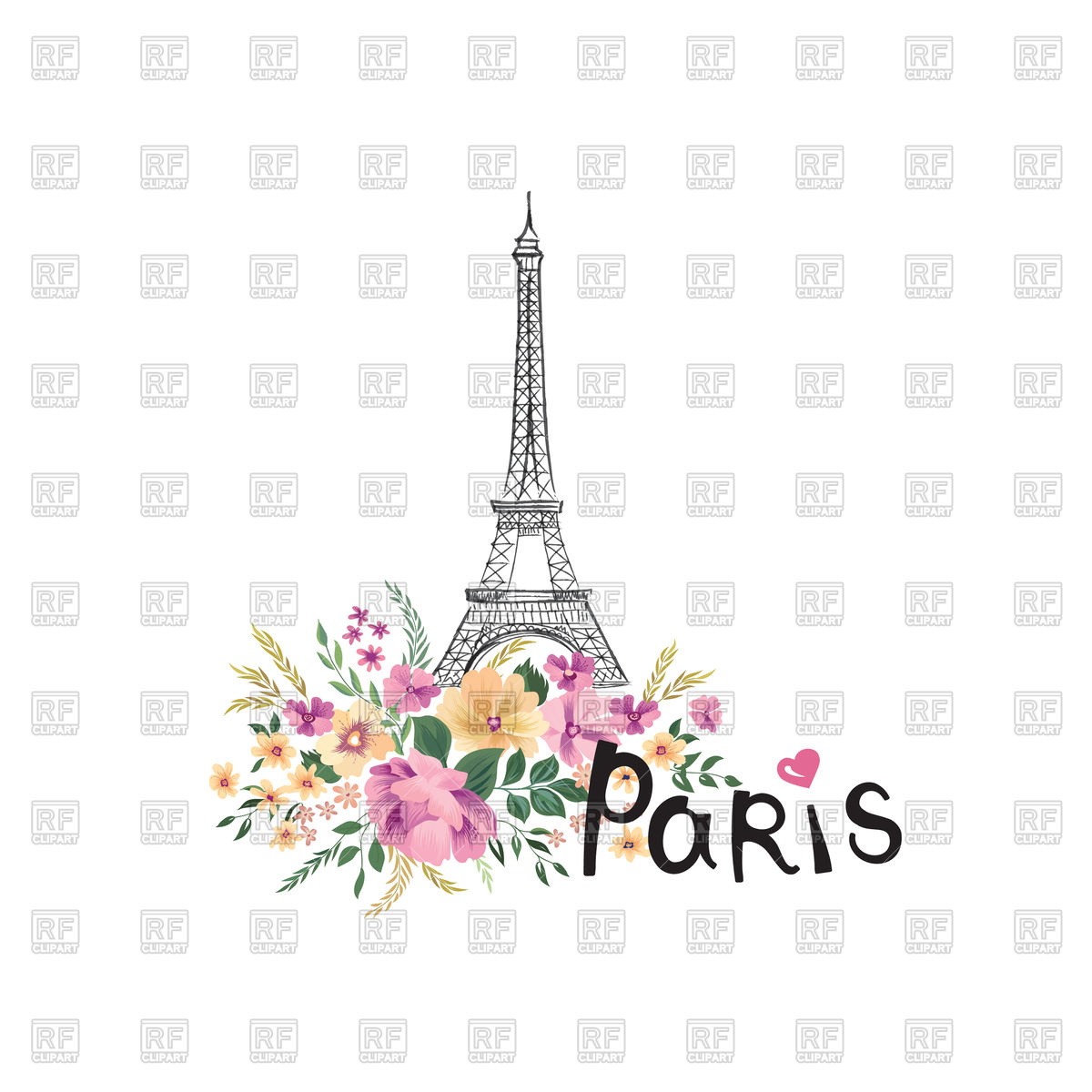 Paris concept with flowers bouquet and Eiffel Tower, France Stock Vector  Image.
