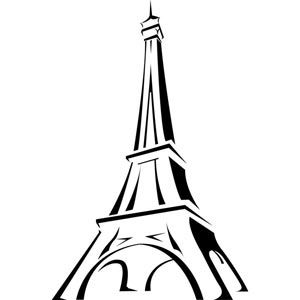 eiffel tower in france line art vector drawing logo.