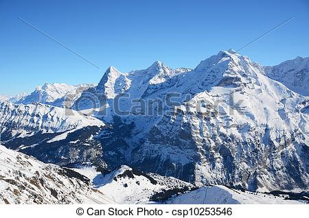 Stock Photo of Eiger, Moench and Jungfrau, famous Swiss mountain.