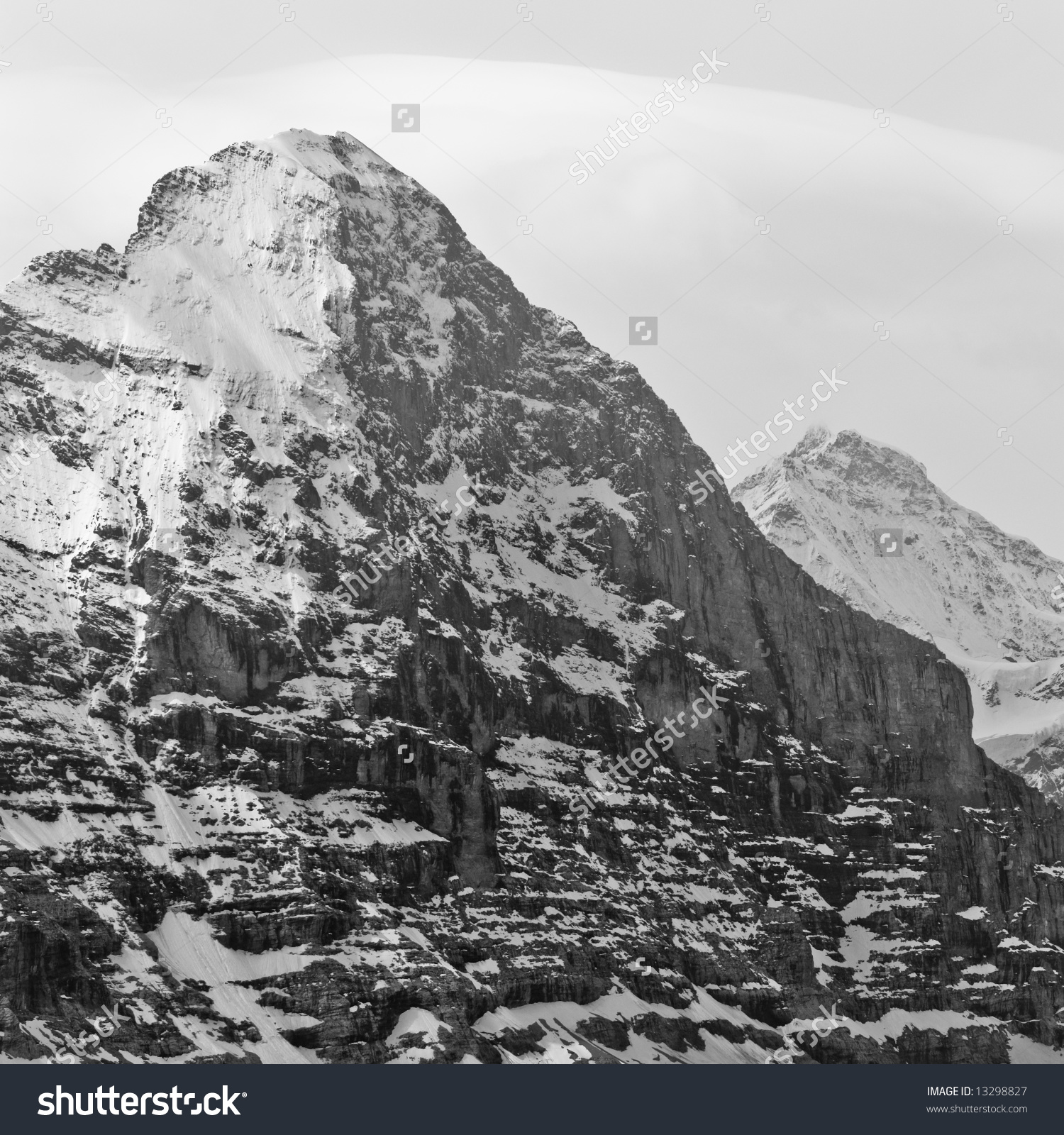 Black And White Image Of Eiger North Face, Switzerland. Stock.