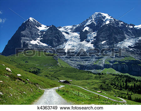 Stock Photograph of Eiger and Monch mountains in Switzerland Alps.