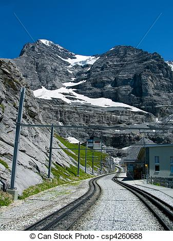 Pictures of The Jungfraubahn railway to Eiger mountain.