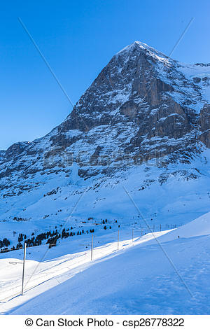 Stock Photo of The north face of the Eiger in Winter.