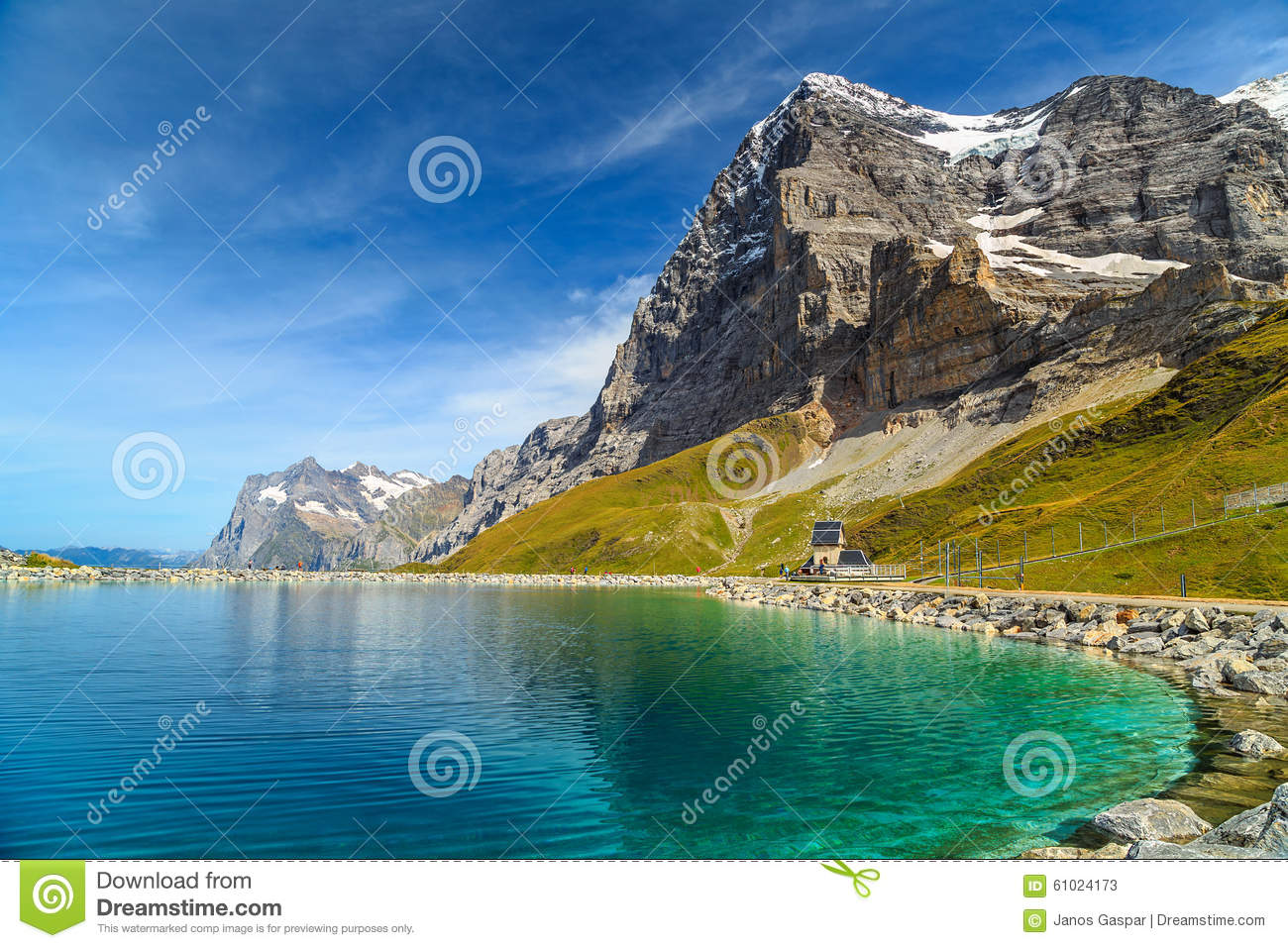 Alpine Turquoise Lake And Eiger North Face,Bernese Oberland.