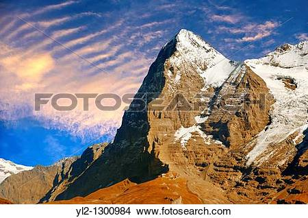 Stock Photo of The Eiger North Face from Murren.