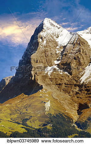 "Stock Photograph of ""The Eiger North Face from Murren, Swiss Alps."