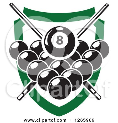 Clipart of a Billiards Pool Eight Ball with a Green Crown over a.