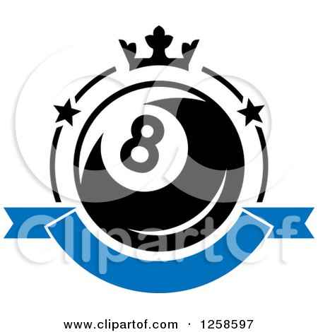 Clipart of a Billiards Eight Ball with a Crown and Banner.