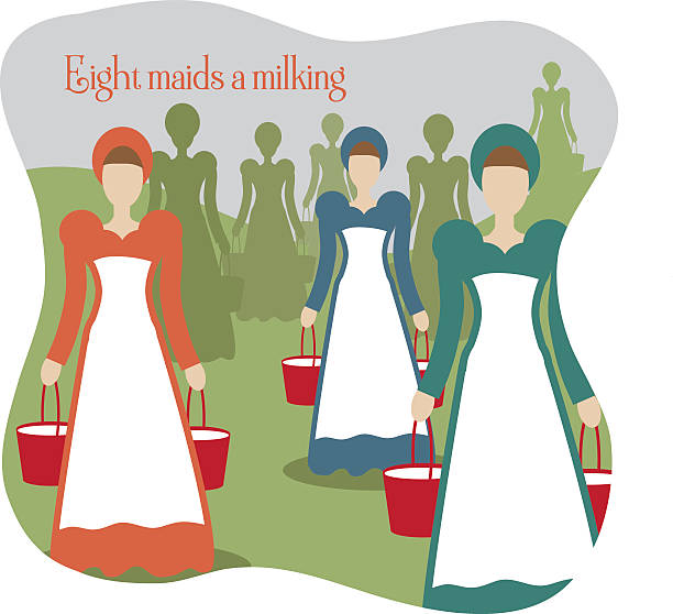 Eight Maids A Milking Illustrations, Royalty.