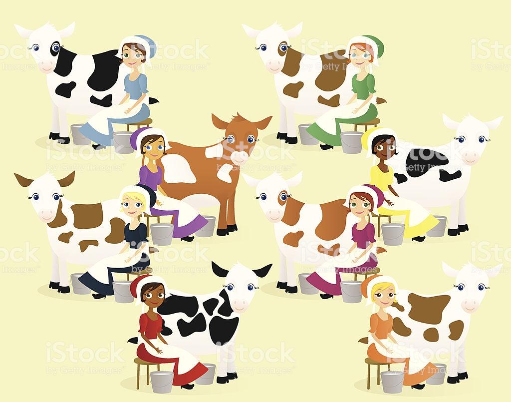 Eight Maids Amilking Stock Illustration.