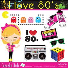 80s Theme Clipart.