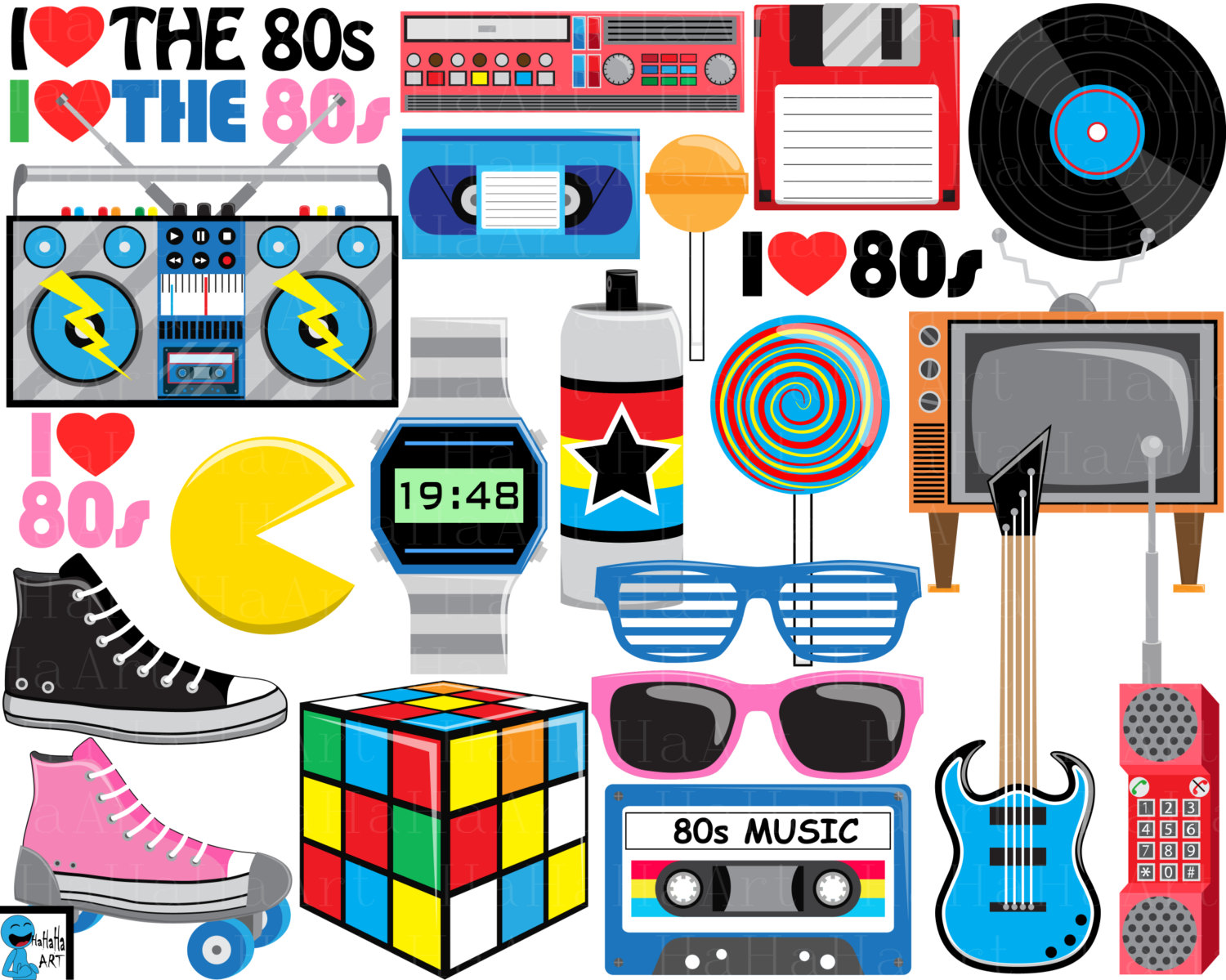 I love the 80's clipart.