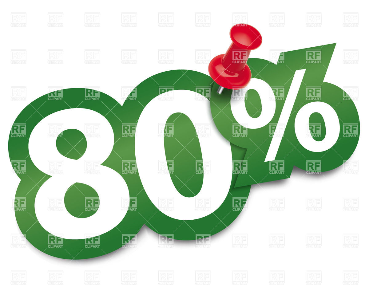 Eighty percent sticker fixed by thumbtack Vector Image #27735.