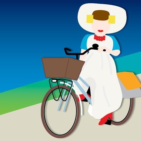 zeeuws meisje (NL) gaat er op de fiets even tussenuit.