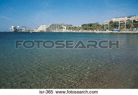 Stock Image of Beach and Hotels Gulf of Eilat Israel isr.