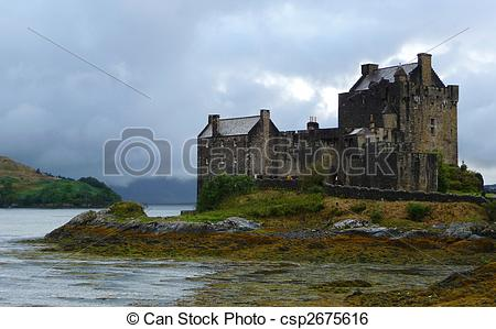 Stock Image of Eilean Donan Castle at Scotland Highlands in Loch.