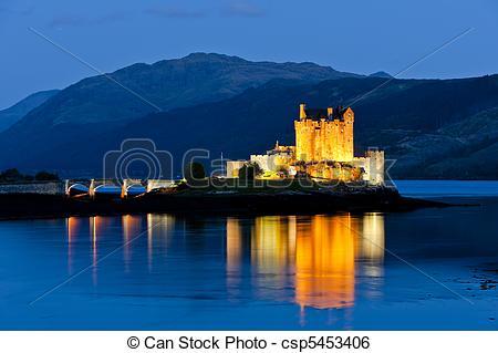 Stock Image of Eilean Donan Castle at night, Loch Duich, Scotland.