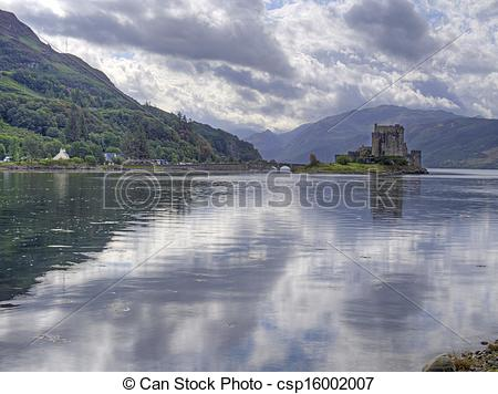 Stock Photography of eilean donan castle scotland with reflection.