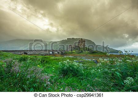 Stock Image of Eilean Donan Castle Highlands Schottland Burg Ruine.