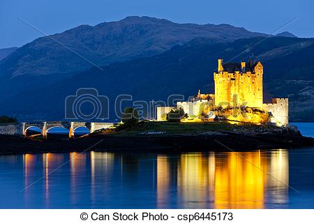 Stock Photos of Eilean Donan Castle at night, Loch Duich, Scotland.