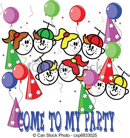 Clipart Vektor von party, Kinder, Einladen.