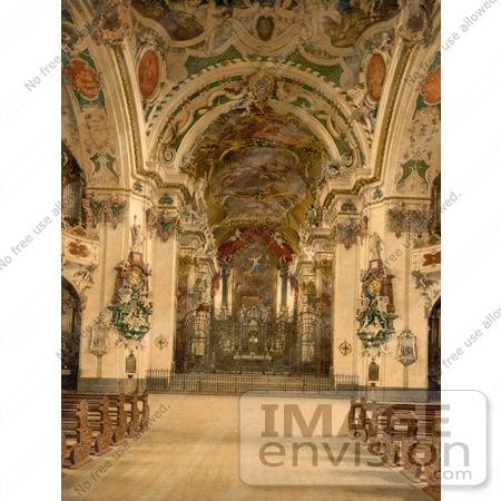 Picture of the Church Interior at Einsiedeln Abbey, Switzerland.