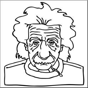 Clip Art: Science: Einstein B&W I abcteach.com.
