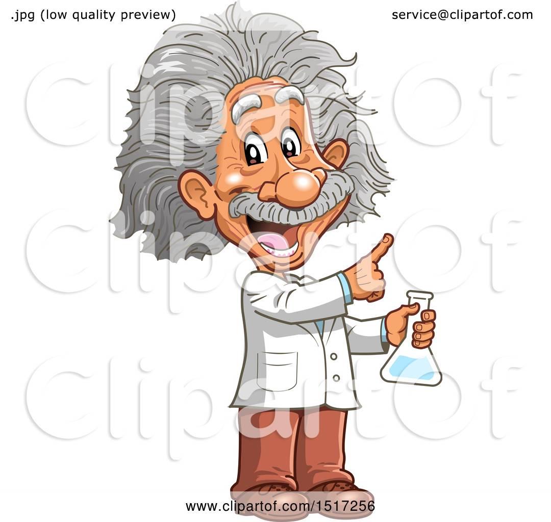 Clipart of a Scientist, Albert Einstein, Holding a Beaker.