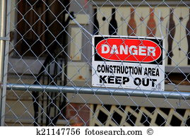 Warning sign construction site fence Stock Photo Images. 649.