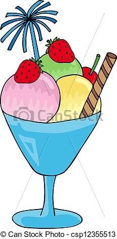 Vector Clip Art of Ice cream sundae.