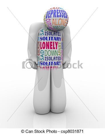 Clipart von einsam, deprimiert, Einsamkeit, Eins, Person, traurige.
